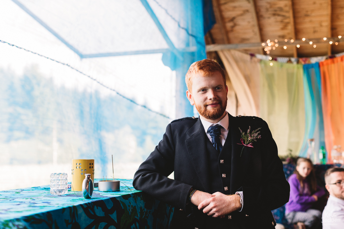 Groomsmen Kilts at DIY Festival Wedding | Kate Jackson Photography