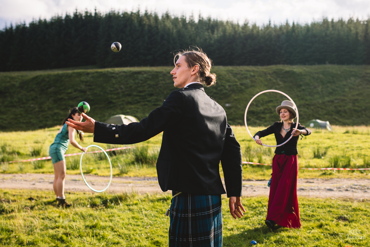 Circus at outdoor festival wedding at Knockengorroch in Scotland | Kate Jackson Photography