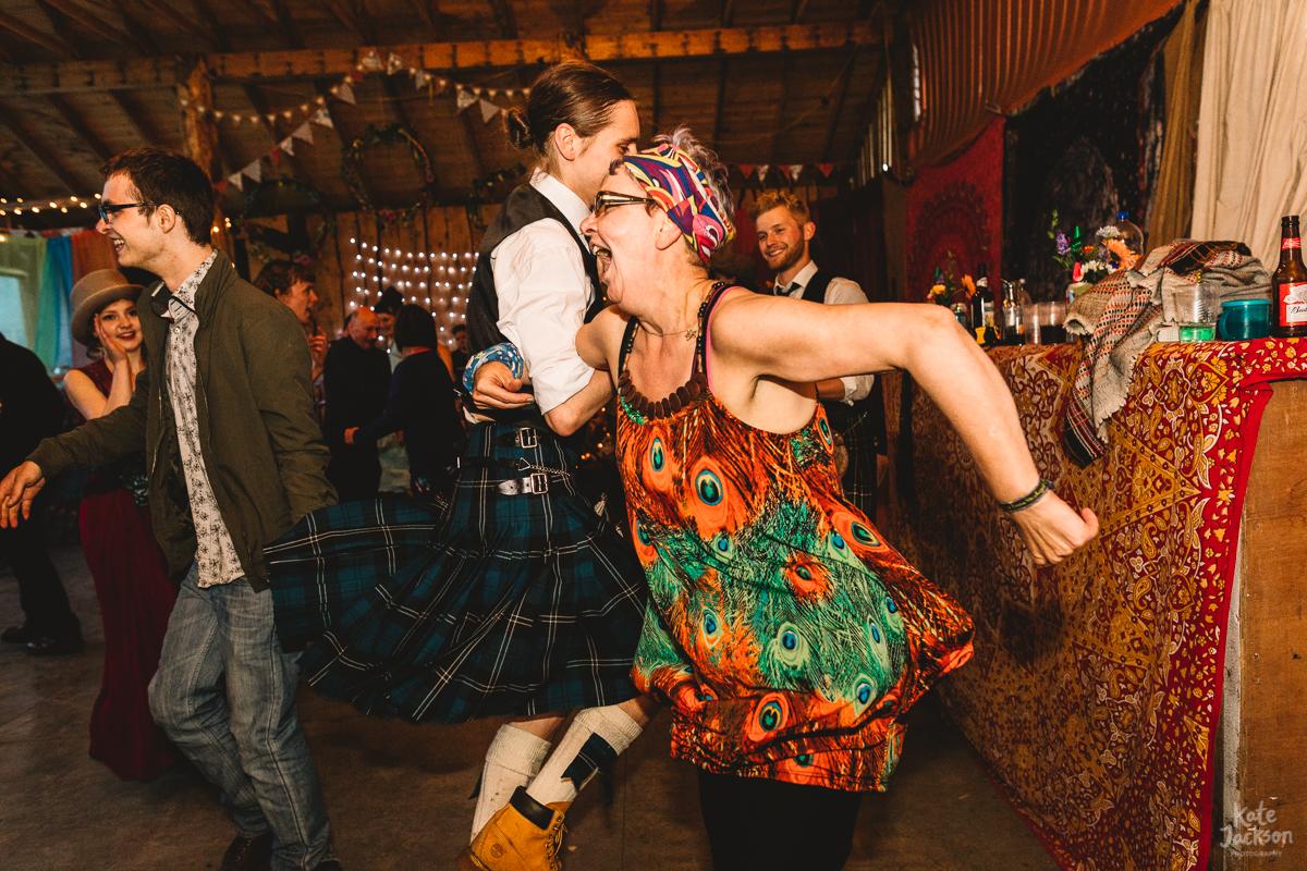 Joy at ceilidh at Knockengorroch Wedding in Scotland | Kate Jackson Photography