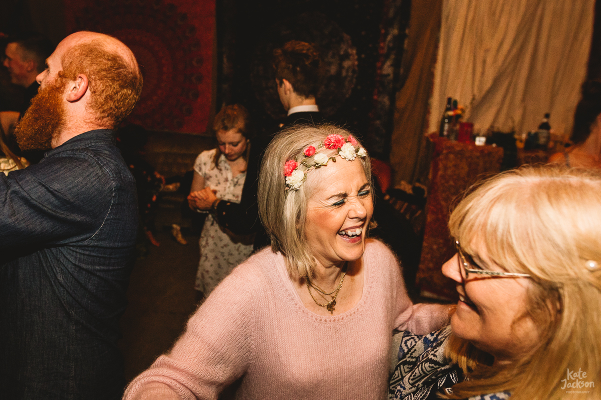Fun during ceilidh dance at Knockengorroch festival Wedding | Kate Jackson Photography