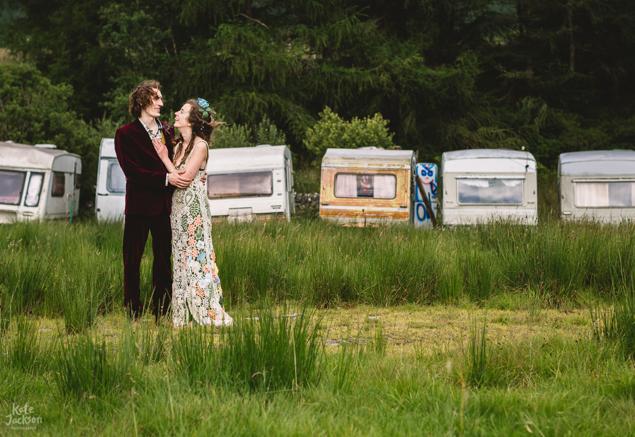 Festival Wedding in a Field with a Bride with Bespoke Crochet Dress | Kate Jackson Photography