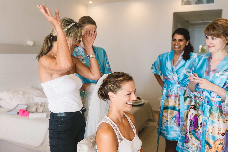 Fun Bridal Preparations at Relaxed Beach Wedding in Skiathos, Greece