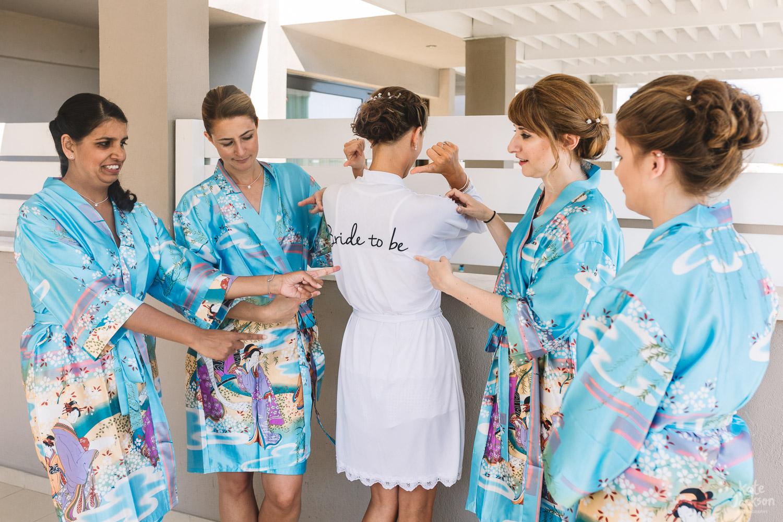 Fun Bride and Bridesmaid Pyjamas at Relaxed Beach Destination Wedding at Kassandra Bay Resorts in Skiathos | Kate Jackson Photography
