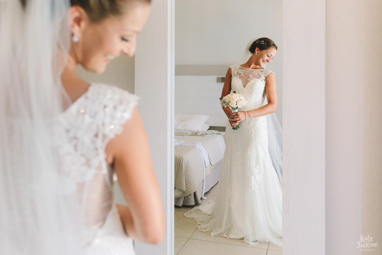 Super fun bride in Maggie Sottero Wedding Dress