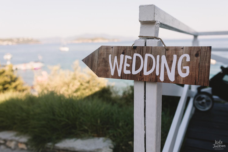 Wedding Signage at relaxed beach wedding in Skiathos