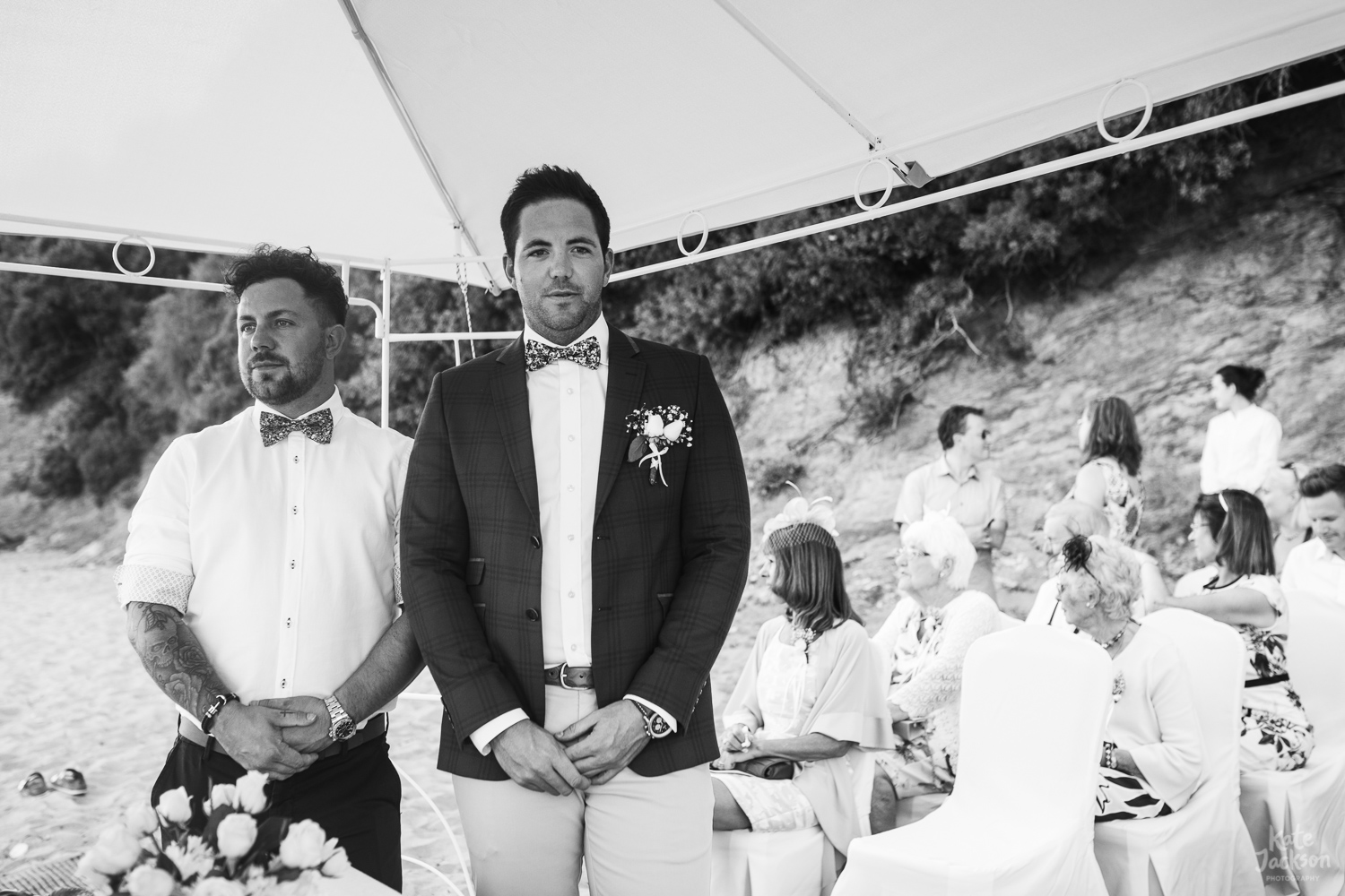 Groom at relaxed beach wedding in Skithos, Greece