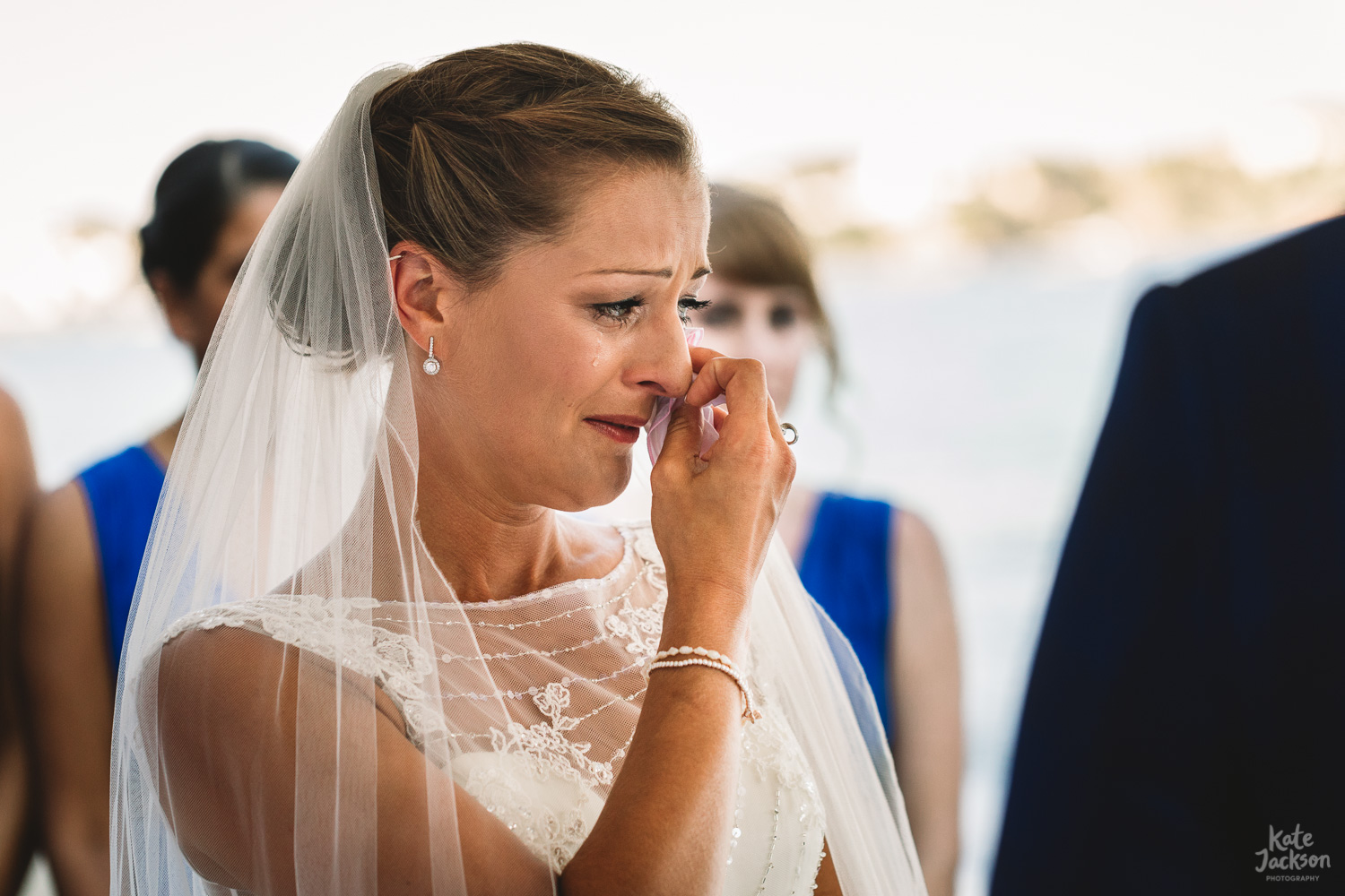 Emotional readings at relaxed beach wedding in Skiathos, Greece