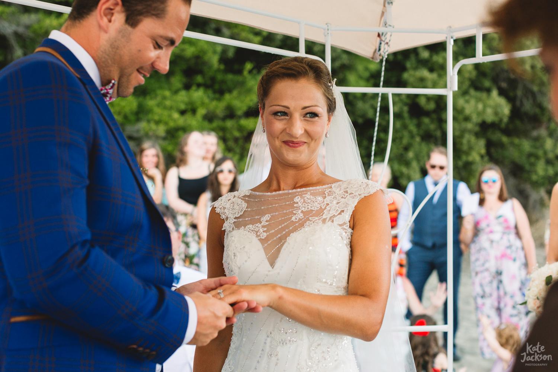 Happy Bride during beach wedding ceremony in Skiathos, Greece