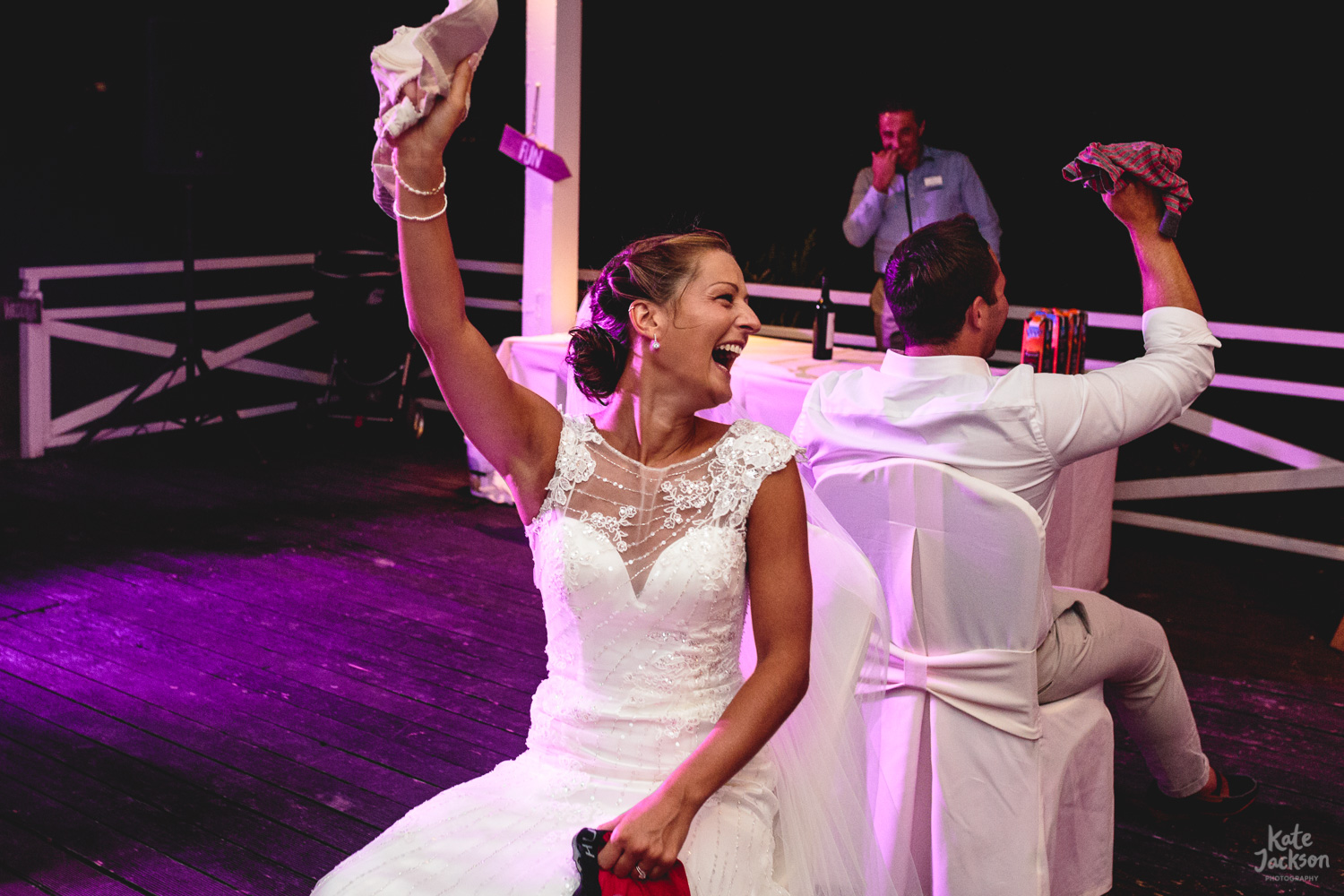 Fun Mr and Mrs Game at relaxed Kassandra Bay Resorts wedding