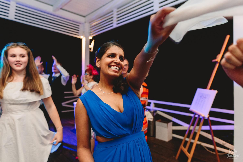 Fun party at Skiathos Wedding on the beach at Kassandra Bay Resorts