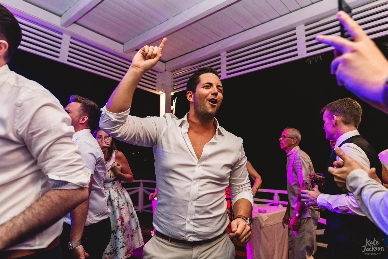 Fun dancing at Skiathos Wedding at Kassandra Bay Resorts