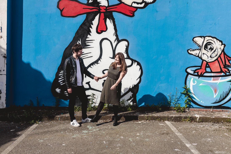 Colourful graffiti on urban engagement photography in Birmingham