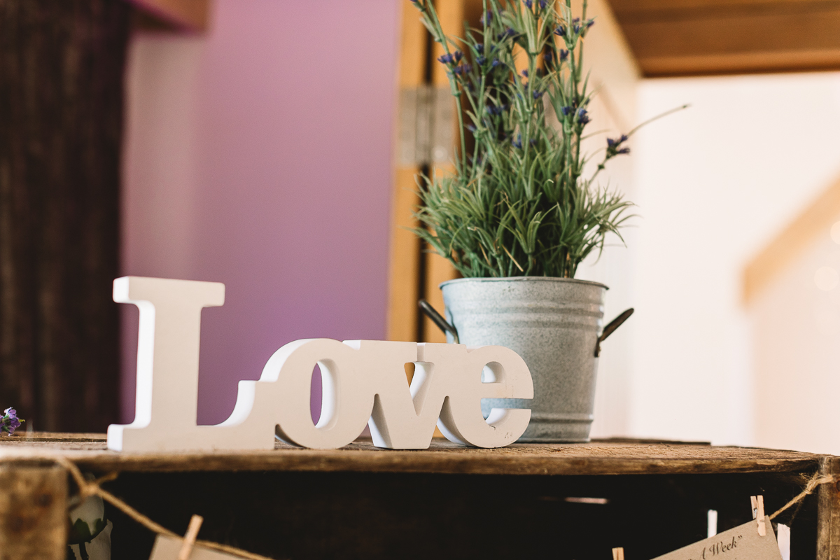 DIY Love lettering and rustic plan at Hyde Barn Weddings