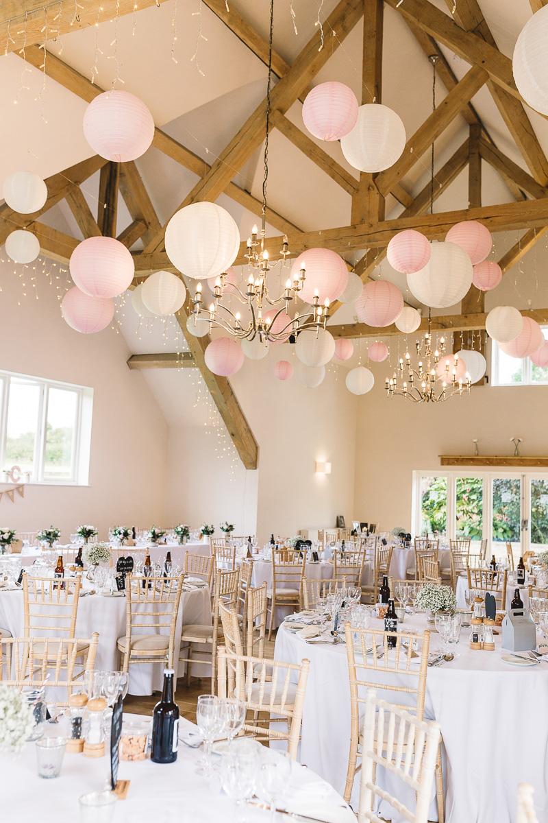 Hyde Barn Weddings Fun Pink + White Lanterns & Table Decor