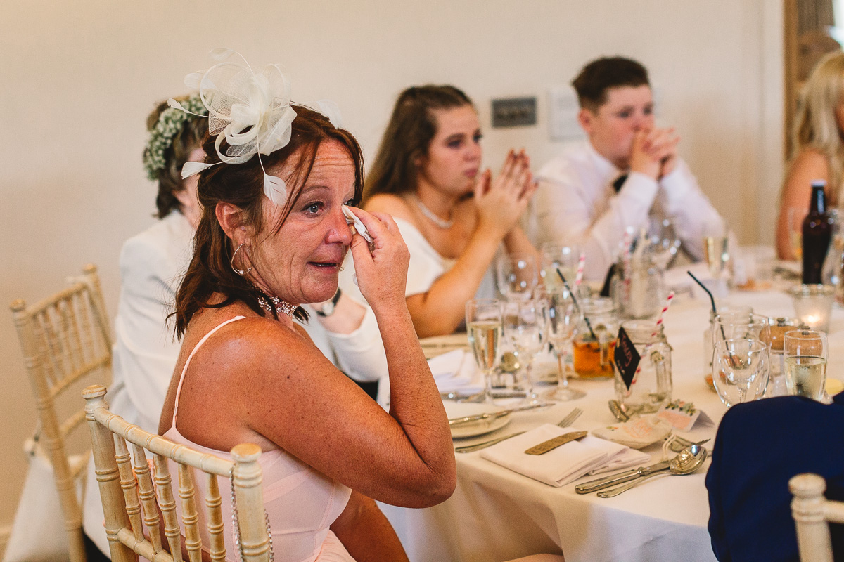 Woman shed tears during emotional speech at Cotswolds Wedding