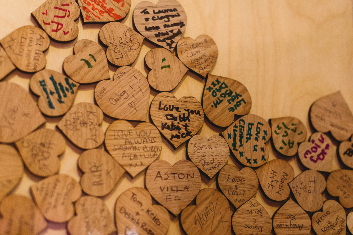 Love heart rustic wooden guess book at cotswolds wedding