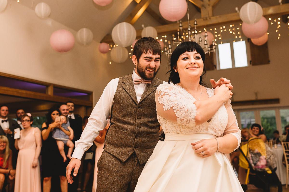Fun first dance at Hyde barn Wedding