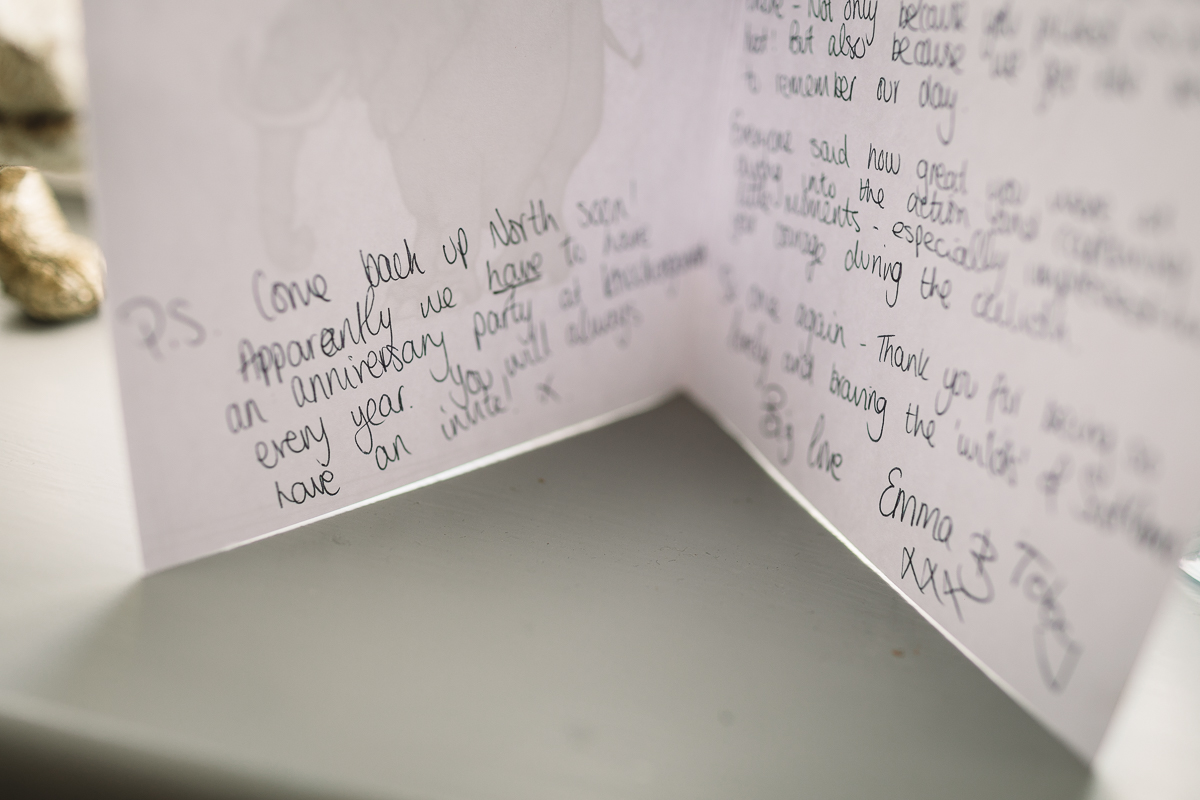 Thank you card about their wedding photography from Emma and Toby sent after Kate Jackson photographed their DIY Festival Wedding | Shropshire Wedding Photographer