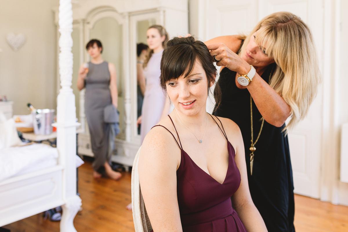 Boho bridesmaid at French chateau wedding