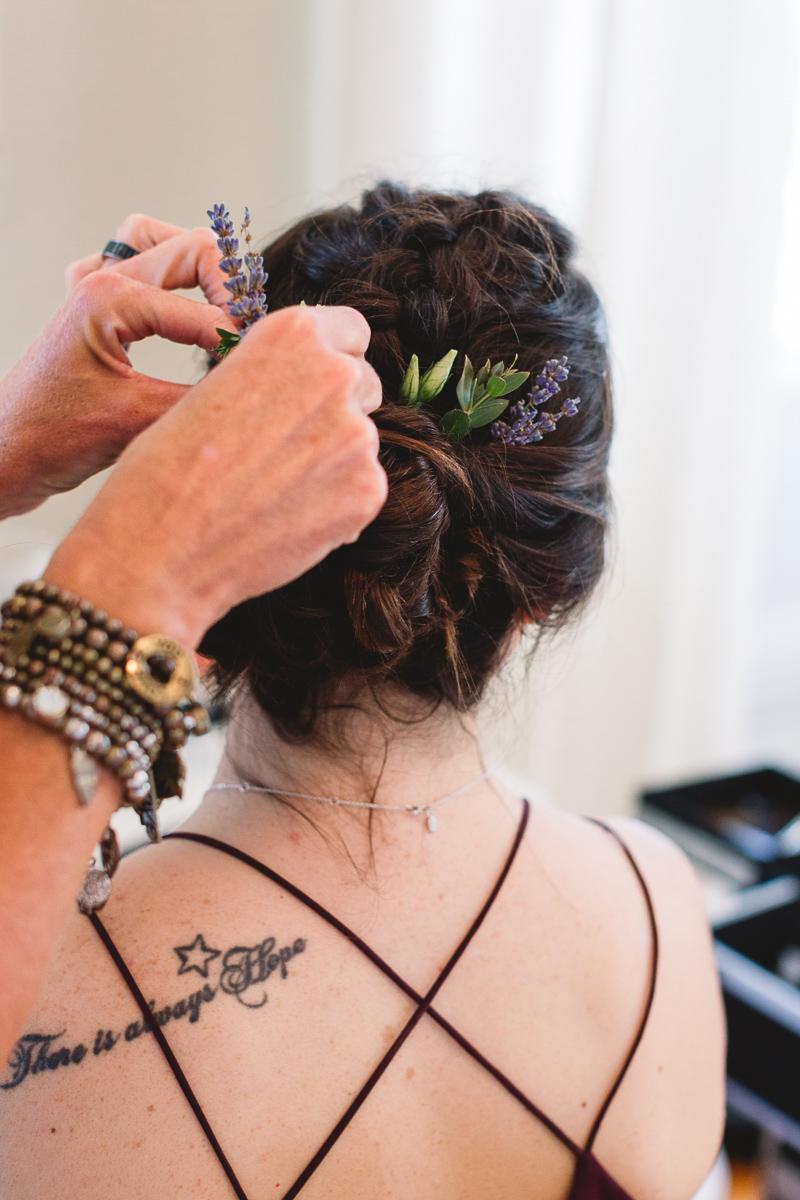 Tattoed bridesmaid at french chateau wedding