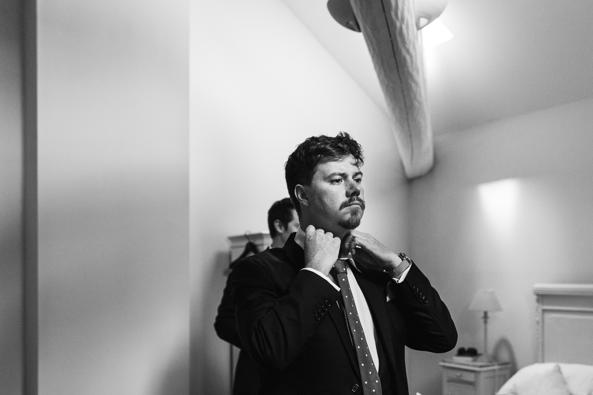 Groom prep documentary wedding photography