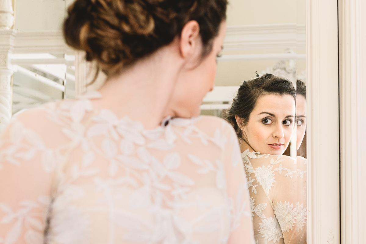 Gorgeous bride in Rue De Seine wedding dress in France