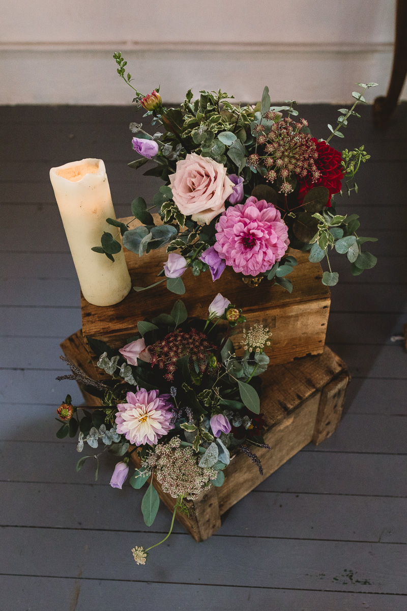 Rustic purple flowers at france destination wedding