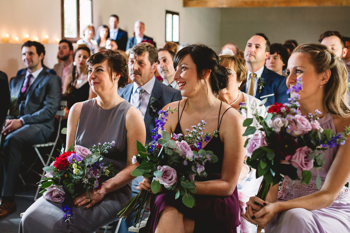 Mismatched bridesmaids dress at relaxed french wedding
