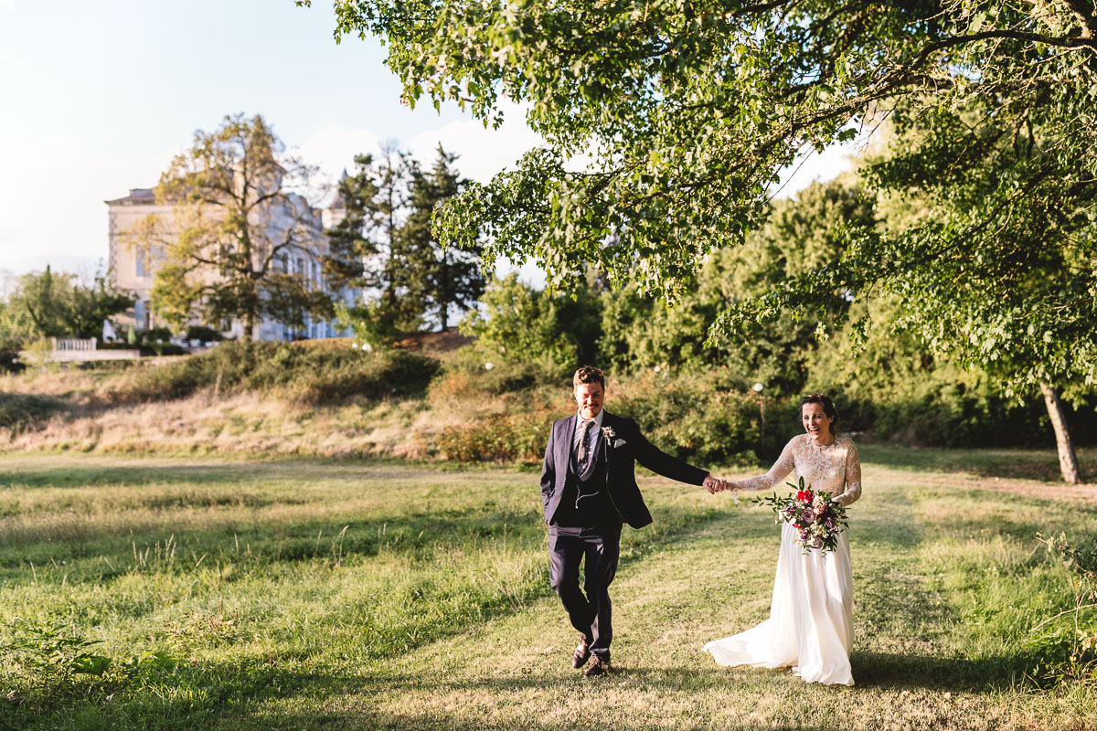 Fun couple at outdoor Chateau Wedding