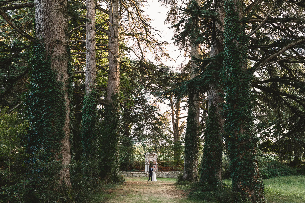 Magical rustic woodland at outdoor wedding in France