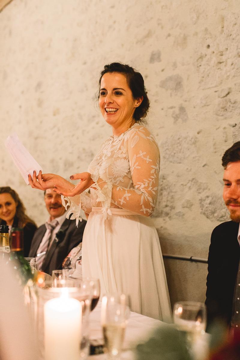 Bride speech at rustic france destination wedding