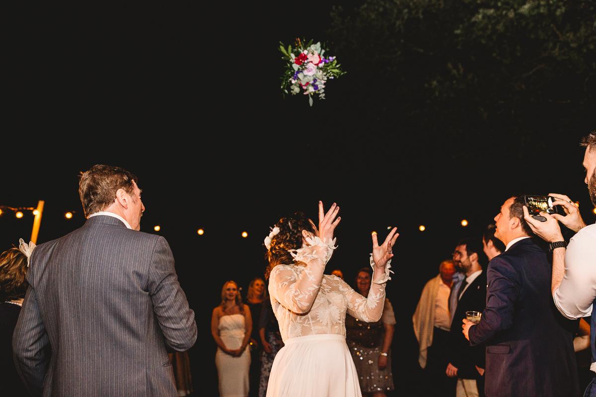 Fun bouquet toss at france destination wedding