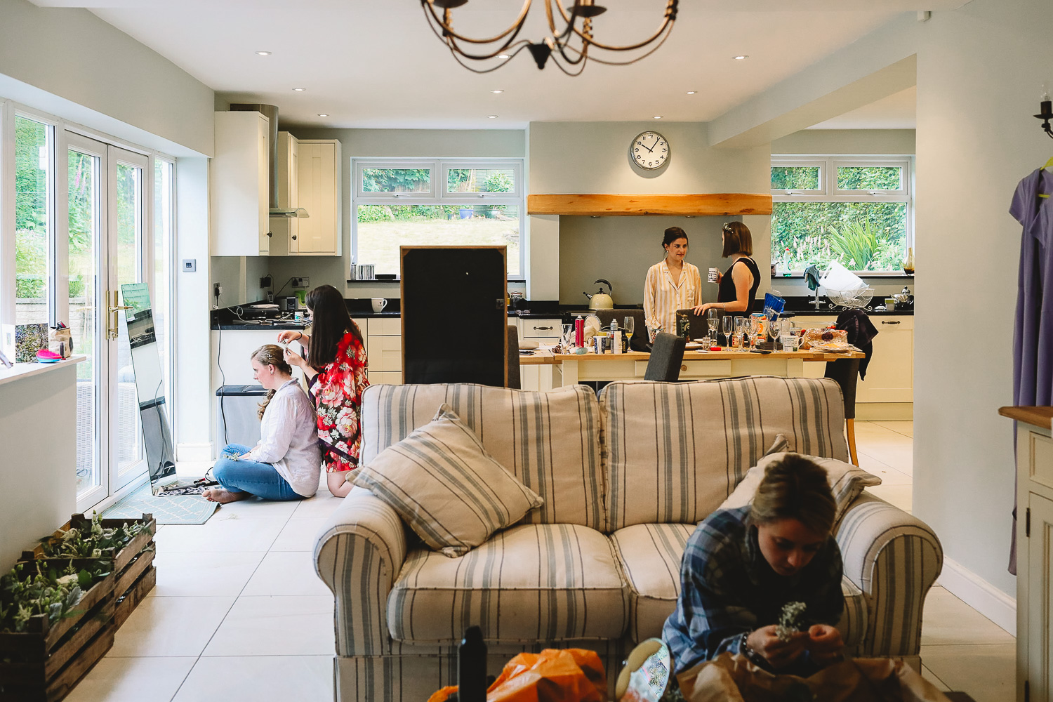 Wide photo of the relaxing morning preparations at 92 Burton Road Sheffield wedding