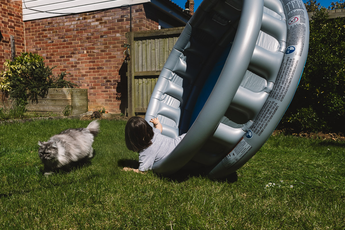 Photo in a back garden on sunny day, a child in grey t shirt is having fun flipping up an empty paddling pool whilst inside it, whilst a fluffy grey cat dodges out of the way. Family photography by Birmingham photographer Kate Jackson.