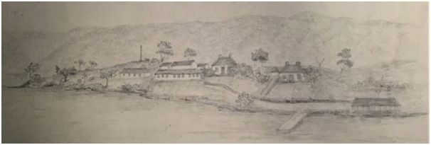 1849 sketch of Point Puer attributed to Catherine Mitchell. Courtesy Allport Library.