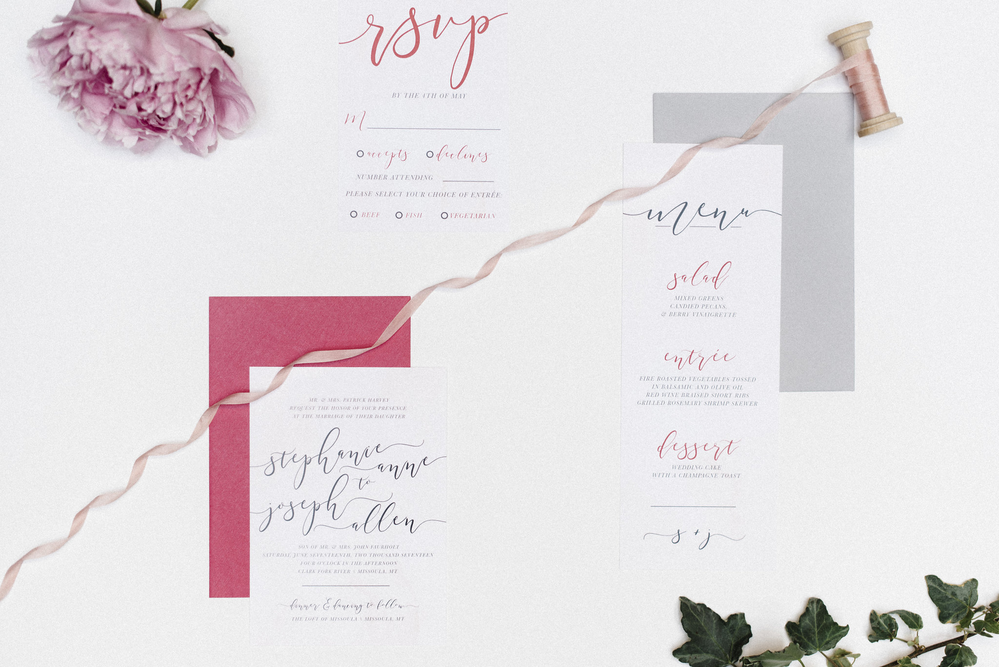 Ribbon by May Arts Ribbon//Invitations by Hey Tayler Design Co.