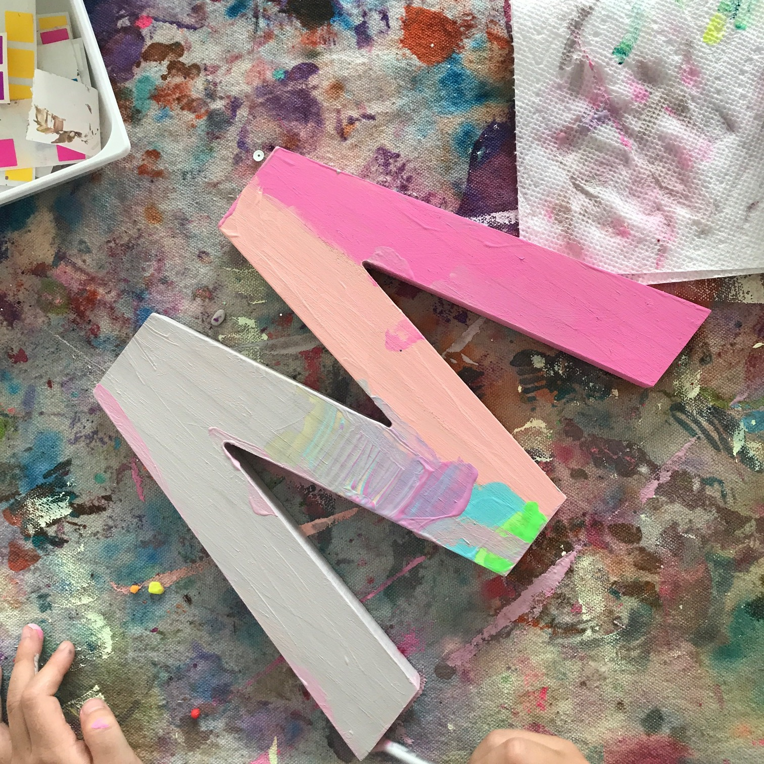 Painting the letters with acrylic paint
