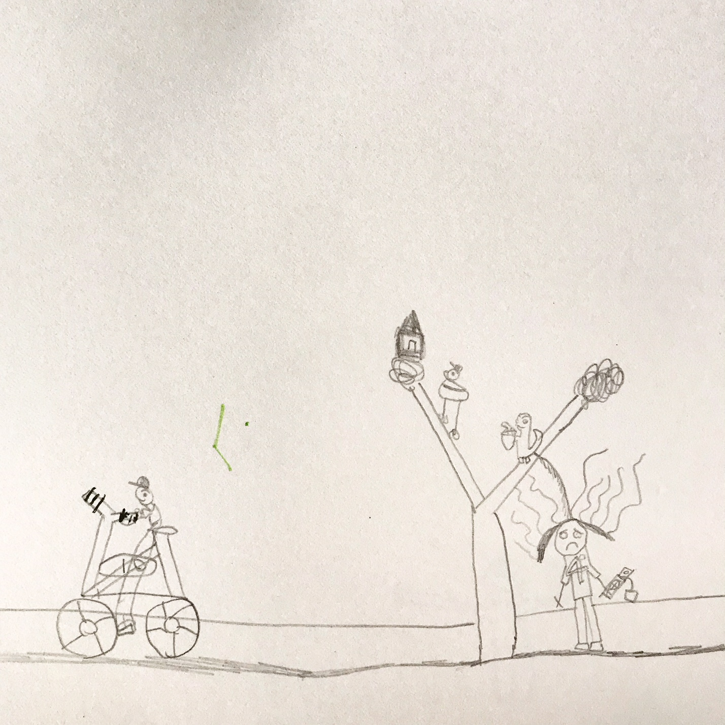 Boy riding a bike and laughing at a girl who got peed by a squirrel. -Drawing by Manolo, 5 yo.