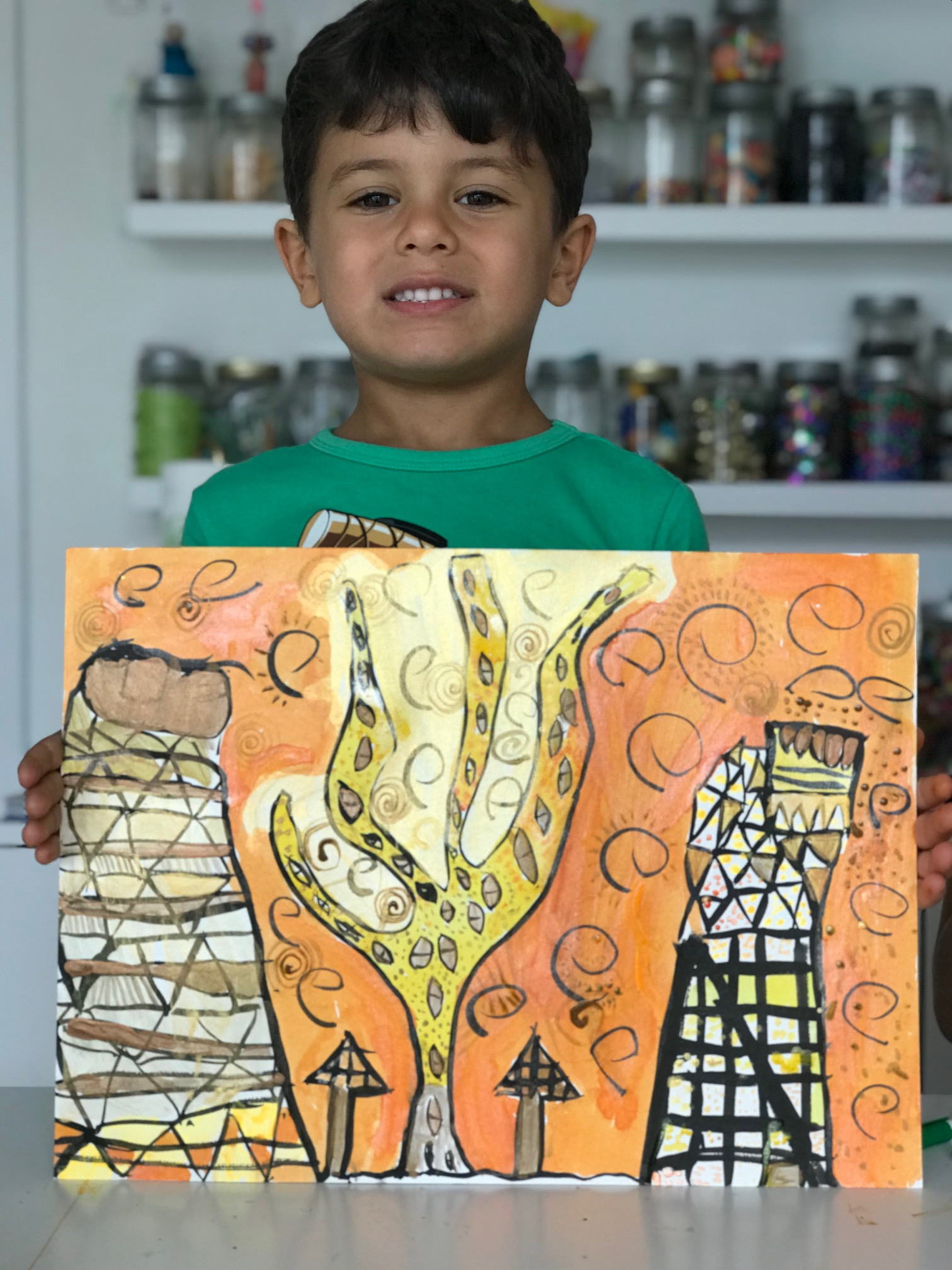 My proud 5yo son, Manolo, and his Klimt inspired Painting.