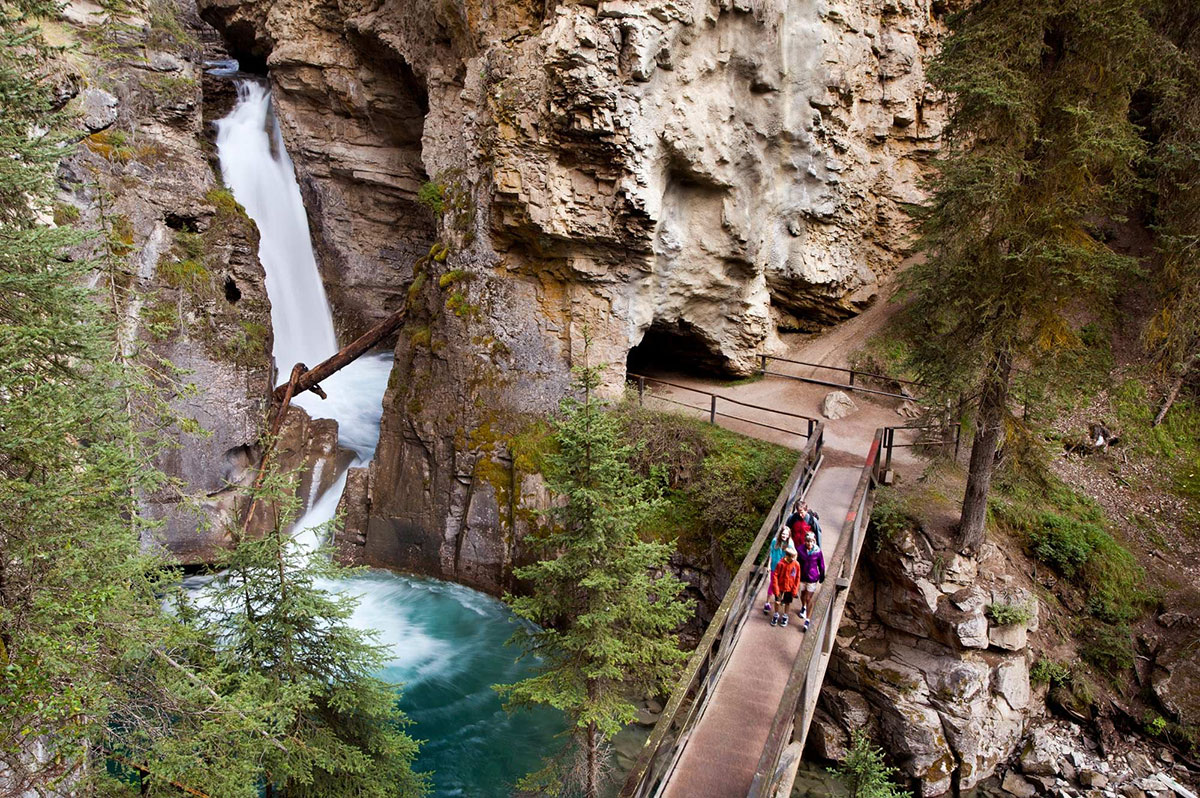 Admire the churning waterfalls in Johnston Canyon -