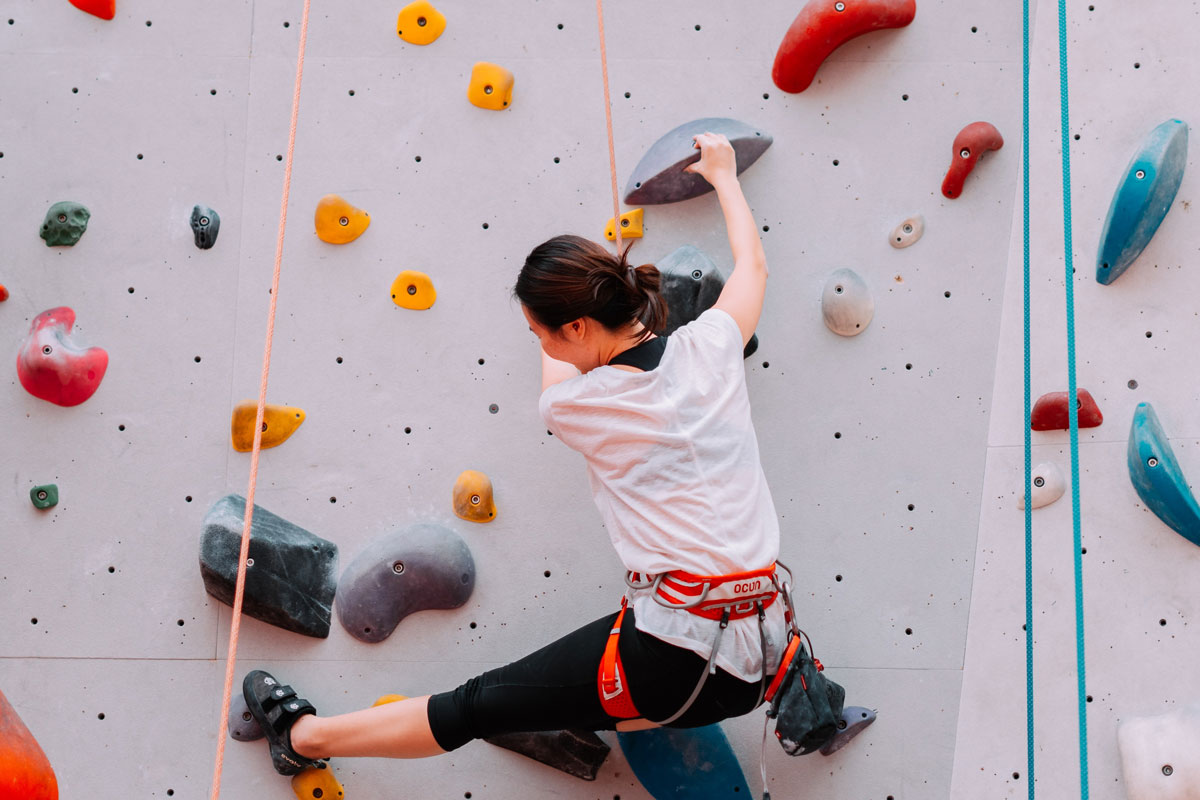 Scale the climbing wall at Elevation Place -