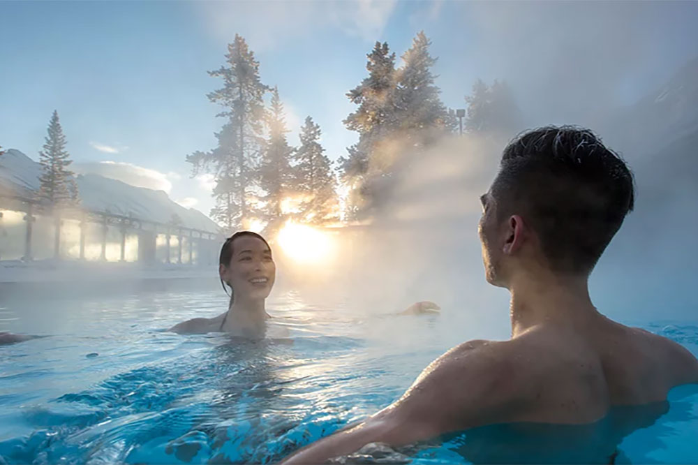 Soak in the Banff Upper Hot Springs -