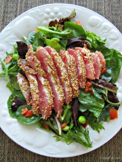 Ahi Tuna Salad and Beer