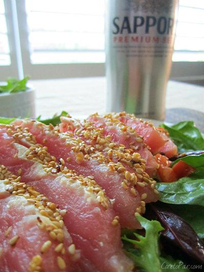Ahi Tuna Salad and Sapporo