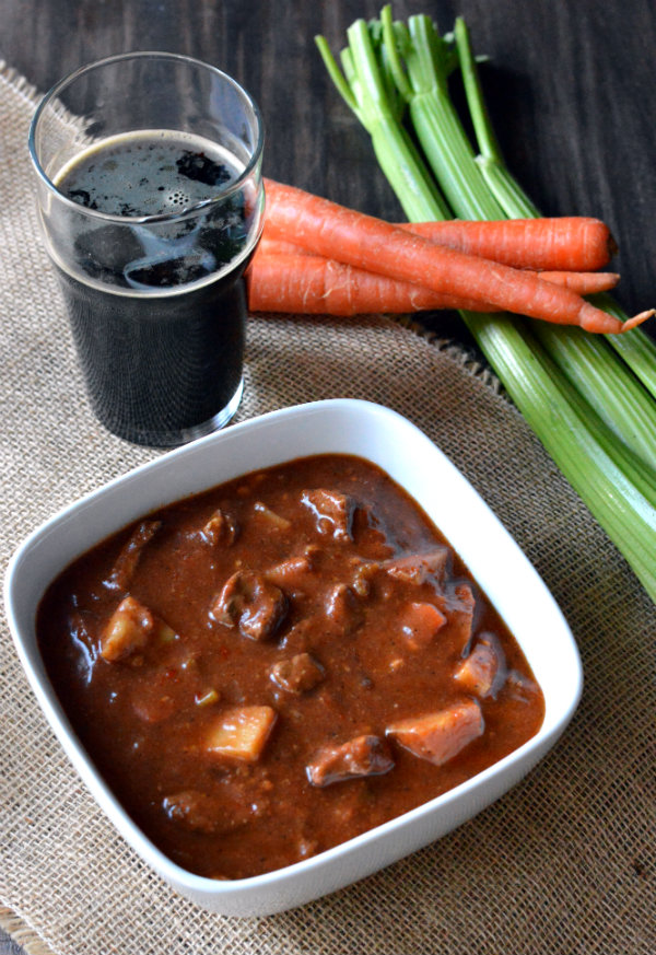 Hearty Beef Stew Simmered in Smoked Porter. If you are not a fan of stew, this recipe will change your mind! |CaretoPair.com