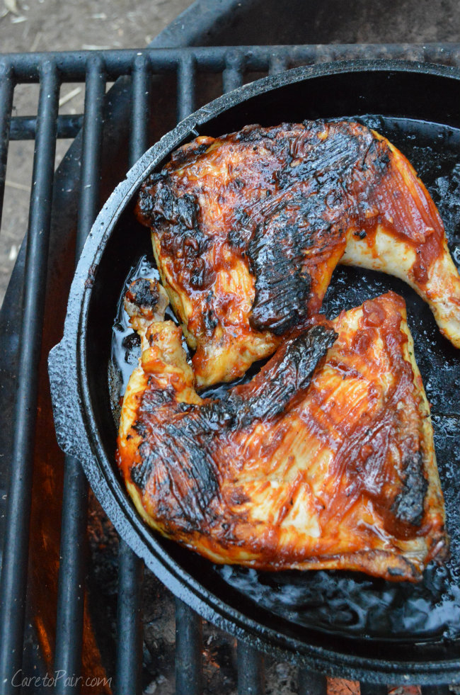 Campfire barbecue chicken with a beer pairing   CaretoPair.com