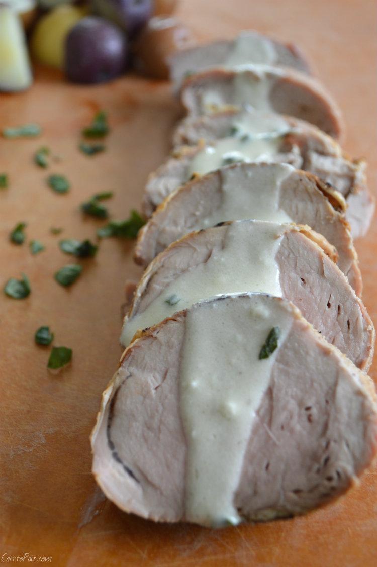 Pork Loin with Mustard Basil Cream Sauce Wine Pairing | CaretoPair.com