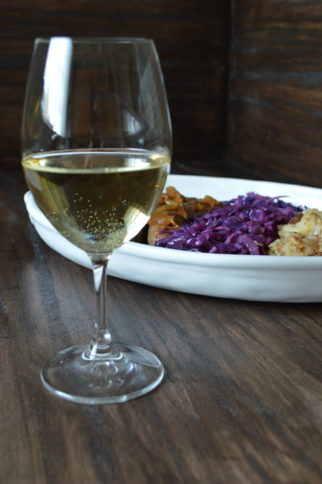 Riesling paired with beer brats a match made in heaven! Serve with red cabbage and German potato salad for an extra filling meal! | CaretoPair.com