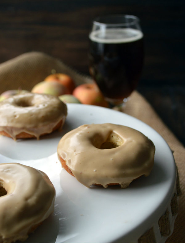 apple maple-glazed donuts paired with pumpkin ale! This recipe is perfect for those sweeter styles of pumpkin ale that you love | CaretoPair.com