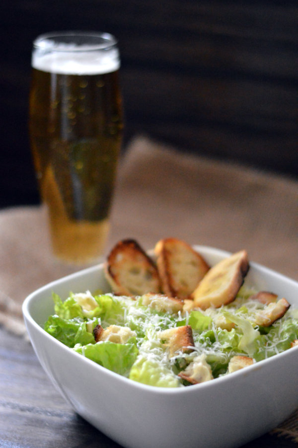 Classic homemade caesar salad dressing and a beer pairing: Munich Helles Lager. Sometimes the simplest things in life are the best of all!